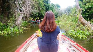 トンレサップ湖で乗ったボートの写真・画像素材[1579834]