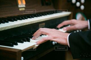 オルガンを演奏する男性の手の写真・画像素材[1607669]