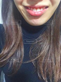 女性の口元の写真・画像素材[1703287]