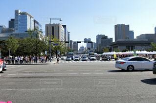 光化門から見たソウルの街並みの写真・画像素材[1375191]