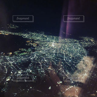 night view from airplaneの写真・画像素材[1341989]