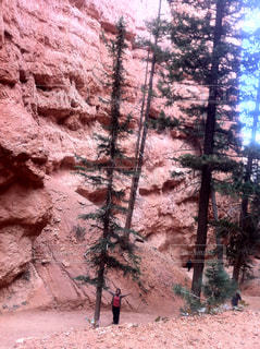 山の前に立っている人の写真・画像素材[1389778]
