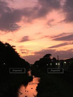 野川に沈む夕日の写真・画像素材[1354314]