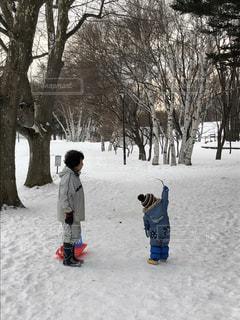 雪の中で立っている少年の写真・画像素材[1364463]
