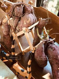 サツマイモオブジェとミニネコの写真・画像素材[2508983]