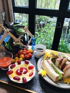 サンドイッチモーニングの写真・画像素材[3361244]