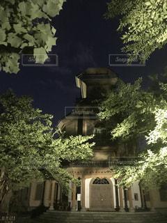 夜の森の中の洋館の写真・画像素材[1379157]