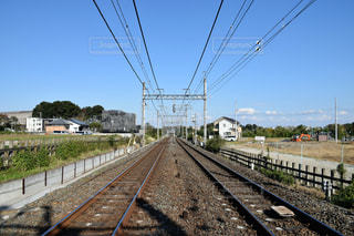 線路上の列車の写真・画像素材[1594897]