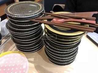 回転寿司のから皿の写真・画像素材[1637145]