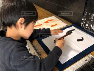 初めての習字の写真・画像素材[2019764]