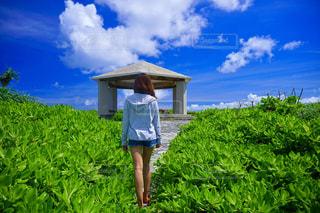 緑の野原の前に立っている人の写真・画像素材[2310135]