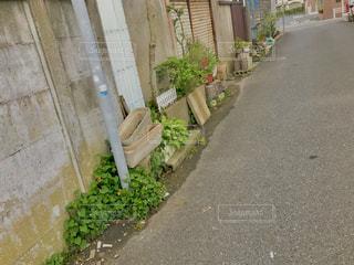 田舎の細道の写真・画像素材[1390626]