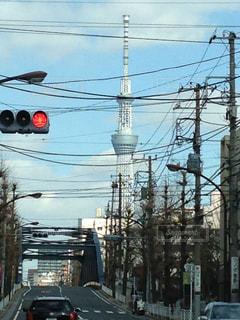 車の運転のトラフィックの光の横の道をの写真・画像素材[1394421]