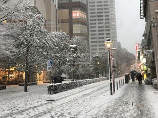 雪に覆われた歩道を歩いて人々 のグループ 三鷹駅北口の写真・画像素材[1401545]