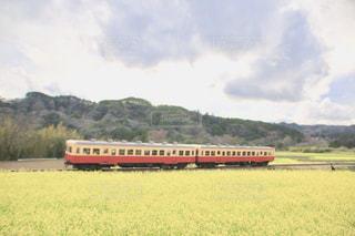 緑豊かな緑のフィールドを介して走行する列車の写真・画像素材[1401992]