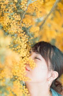 黄色い花を咲かせる女性の写真・画像素材[3123034]
