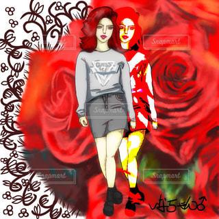 薔薇の花と女 - No.794245