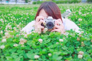 芝生で写真を撮る人の写真・画像素材[1413777]