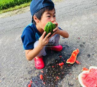 スイカを豪快にかぶりつく男の子の写真・画像素材[1418516]