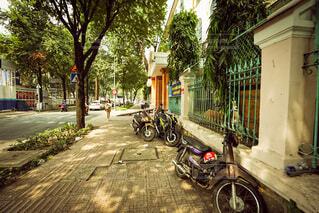 通りの側に駐車している自転車の写真・画像素材[3774586]