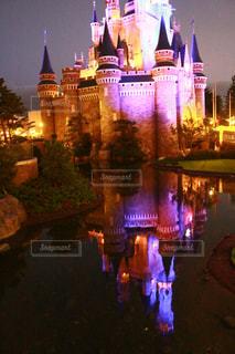 夜のシンデレラ城の写真・画像素材[1467660]