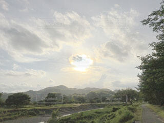 山、川、土手の写真・画像素材[4258412]