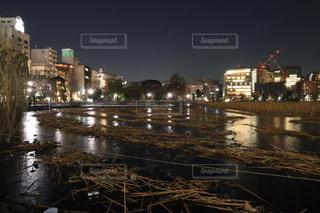 真冬の夜の凍った不忍池の写真・画像素材[1440355]