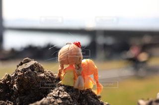 金髪の三つ編みの女の子二人の後ろ姿の写真・画像素材[1880414]