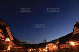 星空の大内宿の写真・画像素材[2673034]