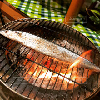 七輪で焼く秋刀魚の写真・画像素材[1480895]