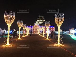 シャンパングラスと大阪城の写真・画像素材[1433071]