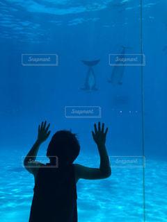水の体の前に立っているこどもの写真・画像素材[1436425]