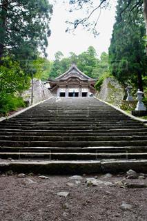石畳の階段から見上げる神社の写真・画像素材[1438217]