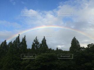 フィールドに虹がかかったの写真・画像素材[1452374]