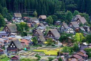 秋の白川郷合掌造りの風情ある景色の写真・画像素材[1503554]