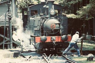 レトロな明治村の蒸気機関車の写真・画像素材[2871876]