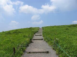 青空につながる車山高原の階段の写真・画像素材[4667804]
