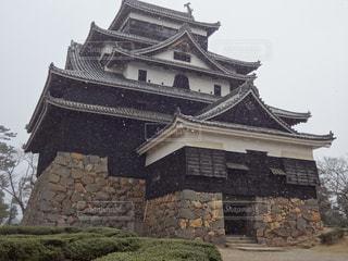 雪の松江城の写真・画像素材[1590068]