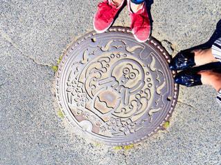 愛知 日間賀島のタコのマンホールの写真・画像素材[1467311]