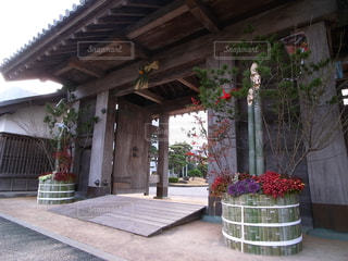 徳島城公園 鷲の門 正月の飾りつけの写真・画像素材[1710703]