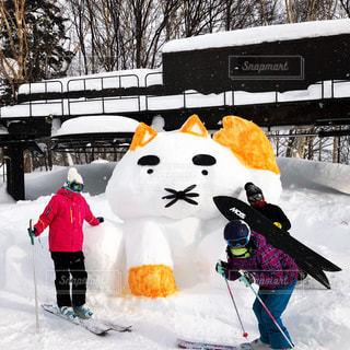 雪の上でスキーに乗っている人のグループに地面が覆われています。の写真・画像素材[1469771]