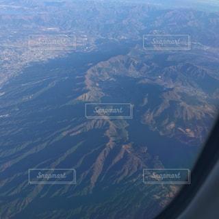 飛行機から見えた芦ノ湖の写真・画像素材[1471073]