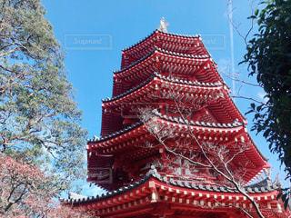 赤と白の塔の写真・画像素材[2848496]