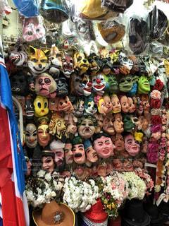 香港の露店のマスクの写真・画像素材[1472313]