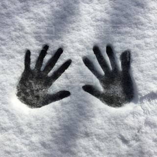 雪の上に手形の写真・画像素材[1671648]