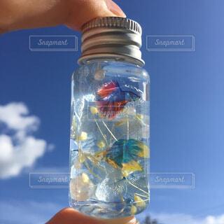 水のボトルを持っている人の写真・画像素材[2446036]