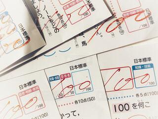 国語と算数の100点のテストの写真・画像素材[4170483]