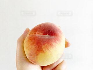 桃を持つ手の写真・画像素材[4628878]