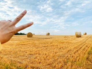 干し草ロールがある畑の前でピースサインの写真・画像素材[4733323]