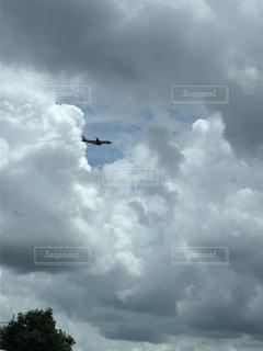 曇り空を飛んでいる飛行機の写真・画像素材[1473758]